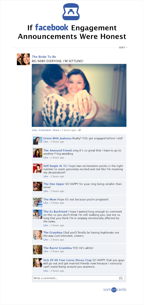 If Facebook Engagement Annoucements Were Honest Funny Things