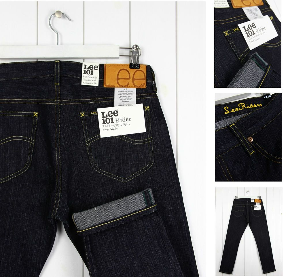 New Men/'s Lee Brooklyn Jeans One Wash Dark Blue Regular Fit Comfort Leg Denim