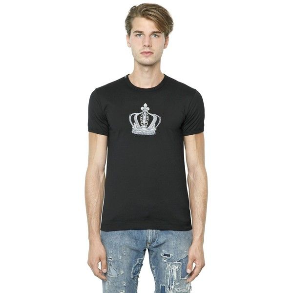 095402997c Dolce  amp  Gabbana Men Crown Embroidered Cotton Jersey T-shirt ( 360) ❤