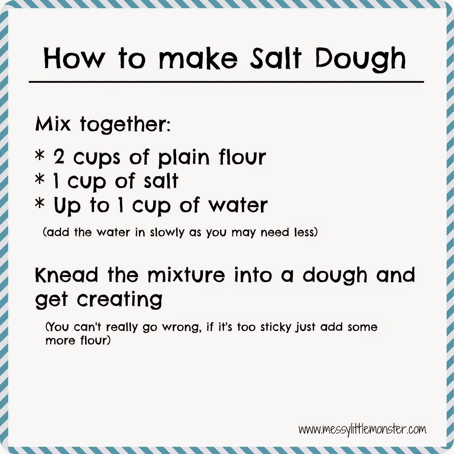 How to make salt dough - Easy salt dough recipe and craft ideas from Messy Little Monster
