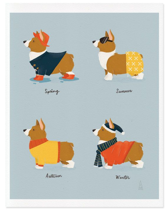 f3750f7fed01 Everything about dogs. Fine Art Corgi Print Seasonal Corgis Illustration by  mankaco