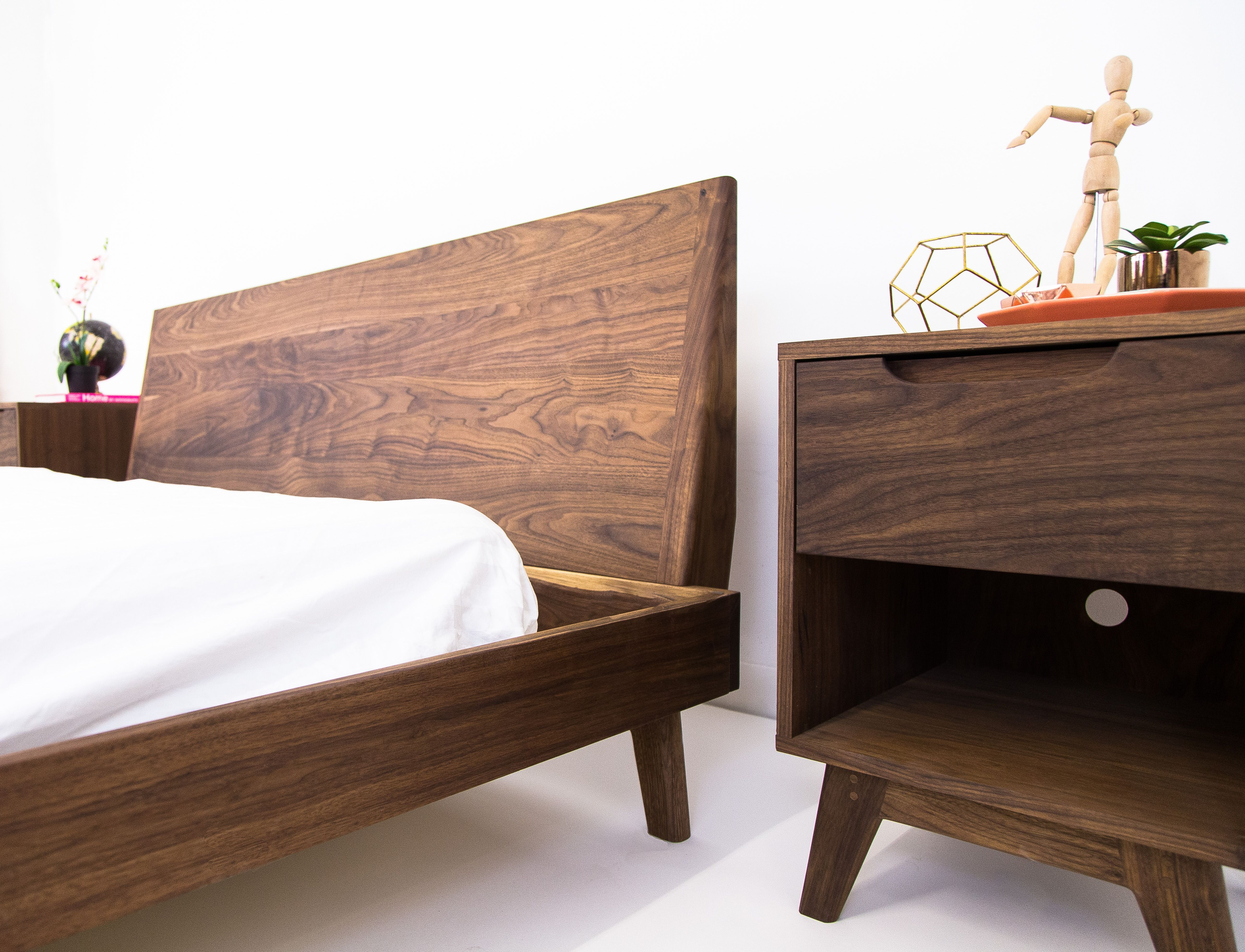 Custom Made The Bosco Mid Century Modern Solid Walnut Bed 2850