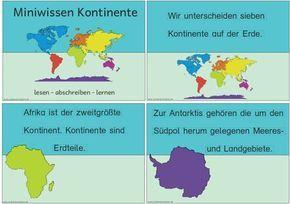 Sachunterricht in der Grundschule: Wissenskartei Kontinente | Schule ...