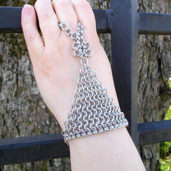 Chainmail  Nobody's Slave Bracelet by moodyandsanguine, $37.00