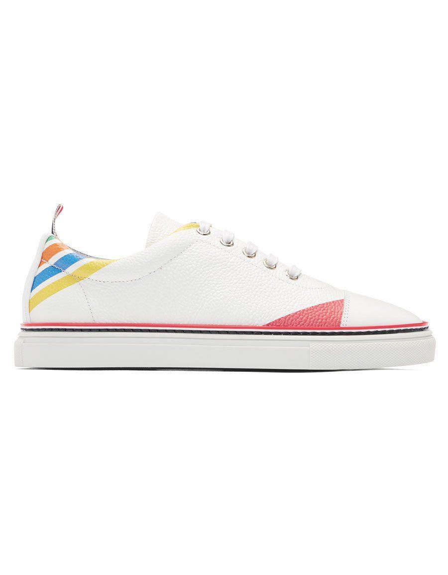 White Diagonal Stripe Straight Toe Cap Sneakers Thom Browne rtH0VbPF