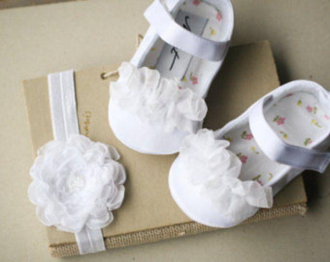 242bc502f Blanco bautizo zapatos y cinta para la cabeza