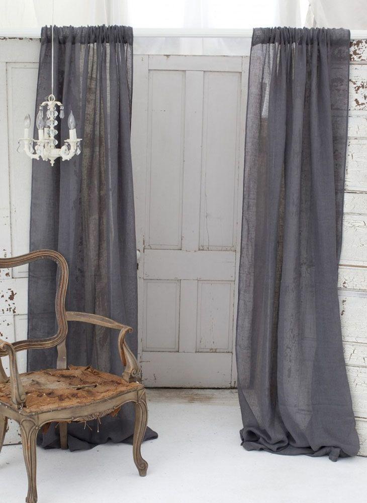 Dark Grey Curtains Ceileng To Floor