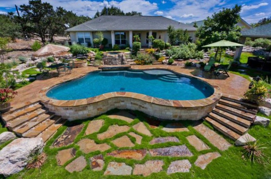Swimming Pool, Backyard Curve Above Ground Pool With Concrete Pool Deck And  Entrance Step Surrounded  Concrete Pool Designs