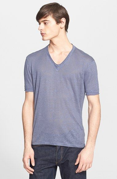 John Varvatos Collection Linen V-Neck T-Shirt (Nordstrom Exclusive)