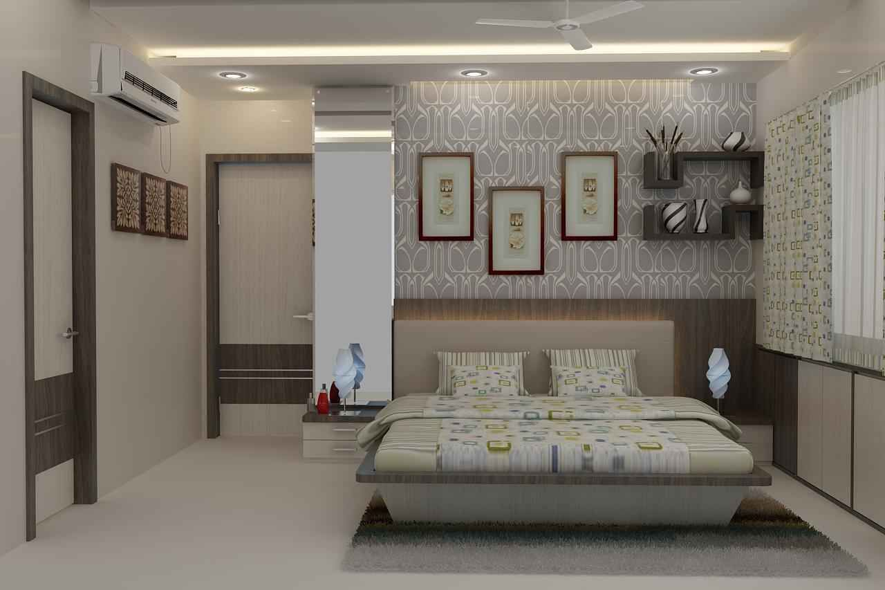 Master Bedroom With Wallpaper Design By Mahendra Jadeja Interior Designer In Navi Mumbai Maharashtra