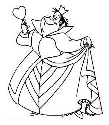 Queen Of Hearts Great Recognizable Silhouette Left Shoulder Alice In Wonderland Characters Disney Coloring Pages Cartoon Coloring Pages