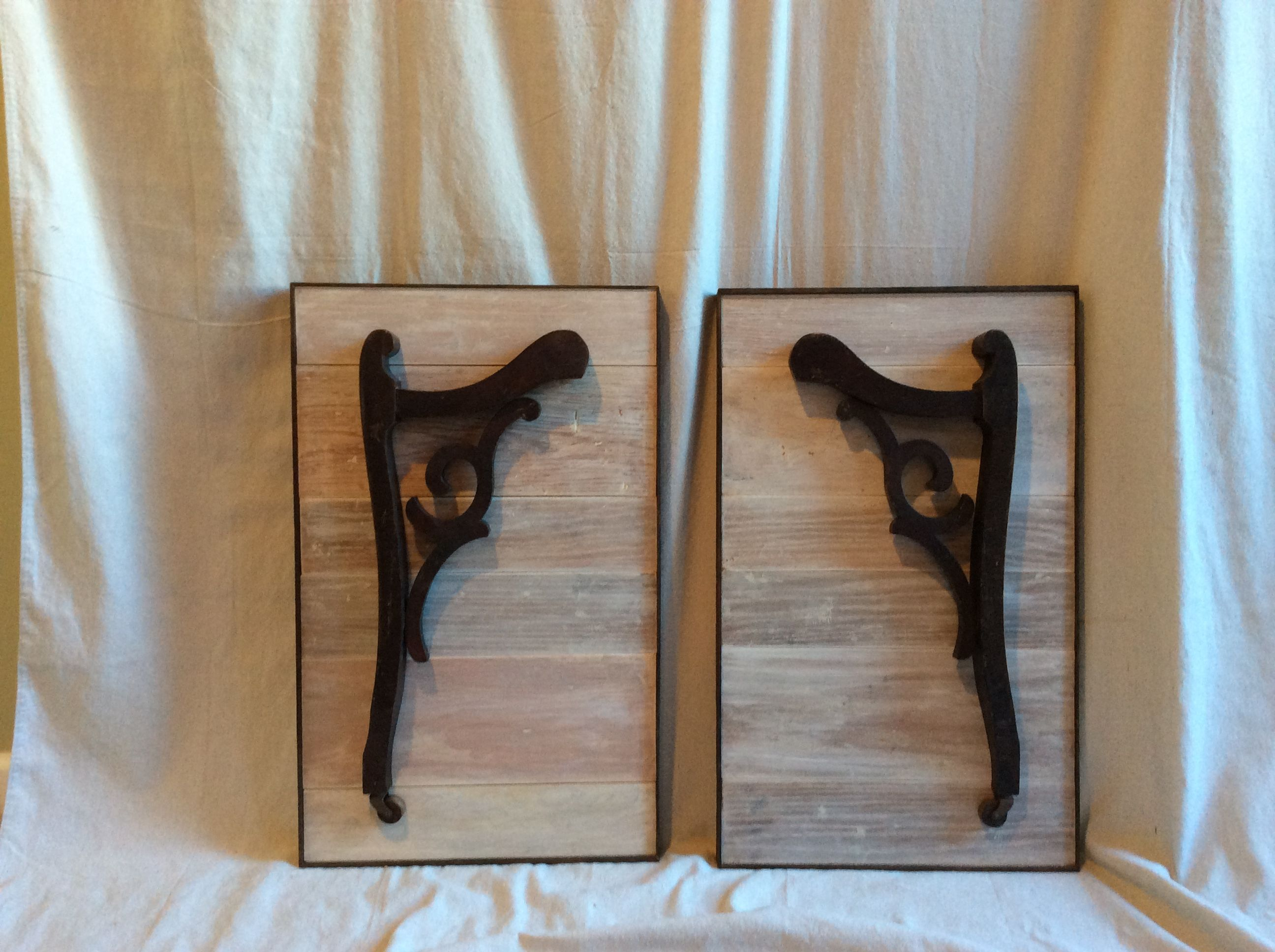 Upcycled chair arms and wooden door frame pcs turned into wall art