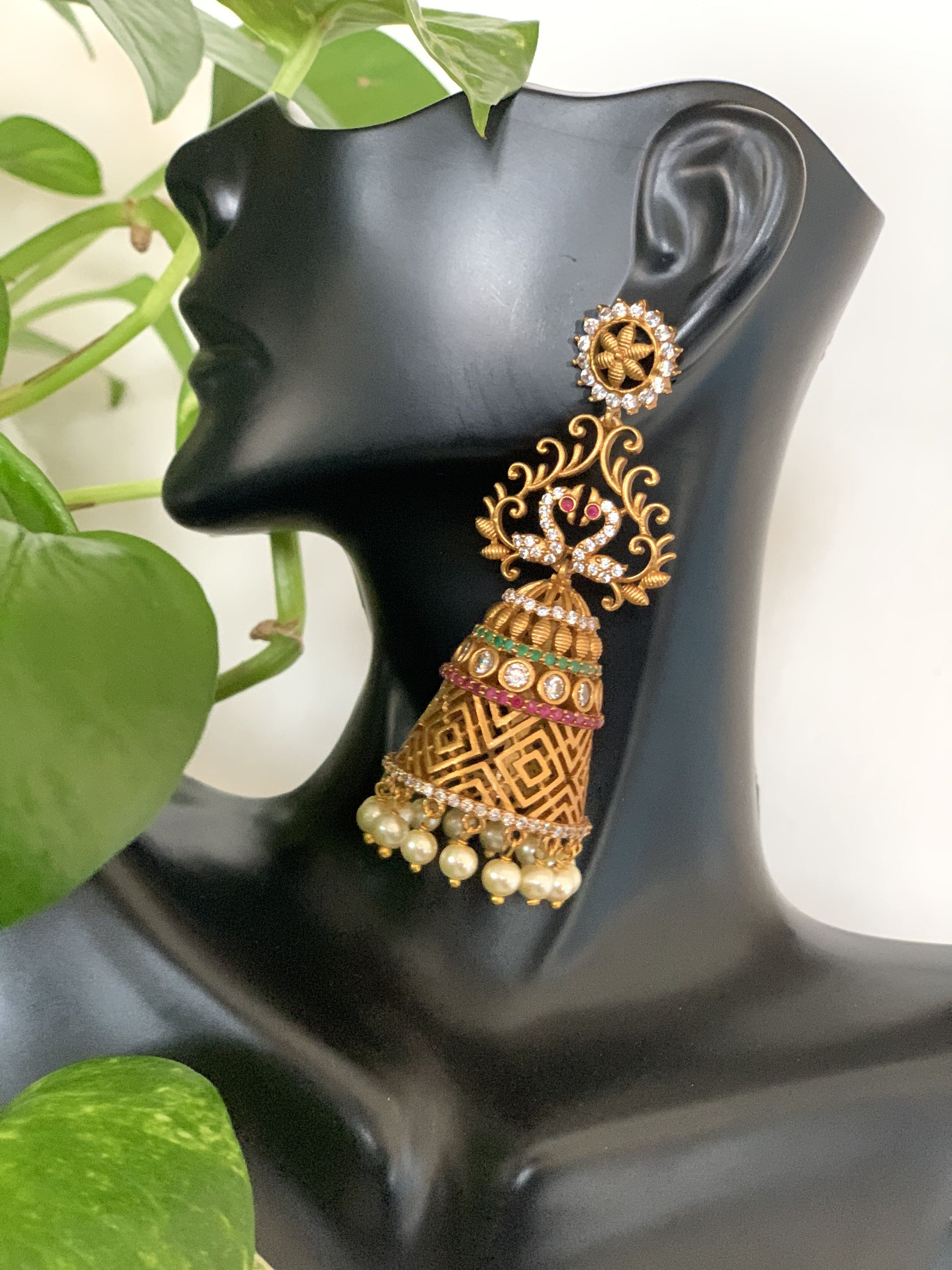 Antique gold finished ruby emerald peacock long jhumkas