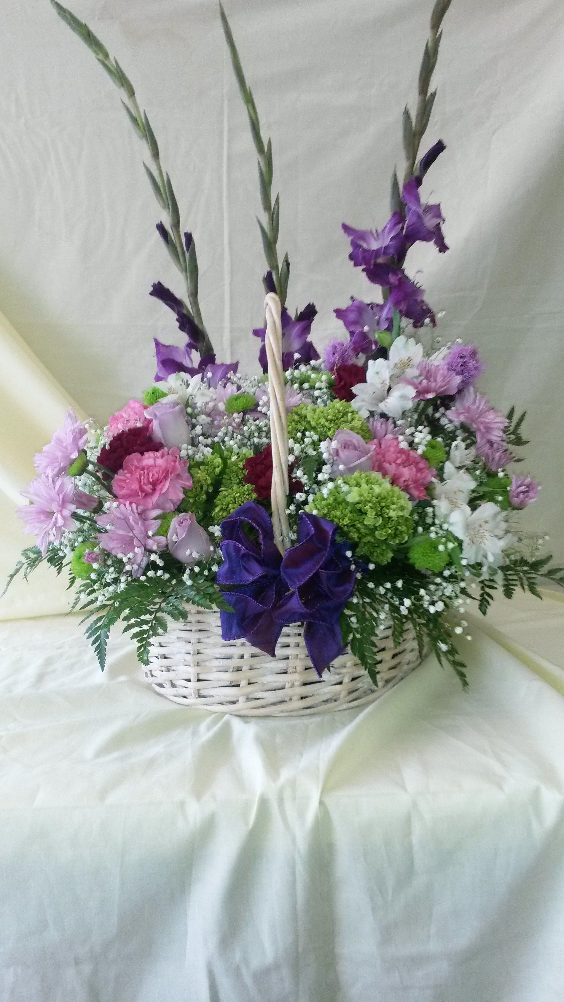 This Funeral Arrangement Features Purple Gladiolas, White Alstroemeria, Purple Mums,