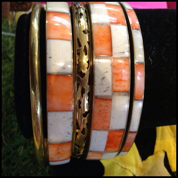 Orange,cream,gold bangle bracelet five total !  Order online at ladybugjungle.com