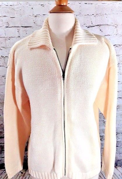 Eddie Bauer Sweater Cardigan Jacket Cream Full Zip Collar Size ...
