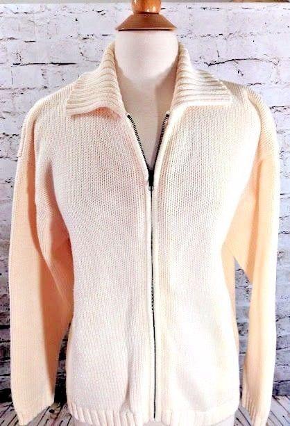02b9020648 Eddie Bauer Sweater Cardigan Jacket Cream Full Zip Collar Size Medium Womens  EUC  EddieBauer  Cardigan  Sweater