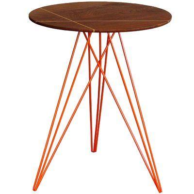 Tronk Design Hudson End Table Base Color Orange Top Color Walnut Side Table Furniture Trends End Tables