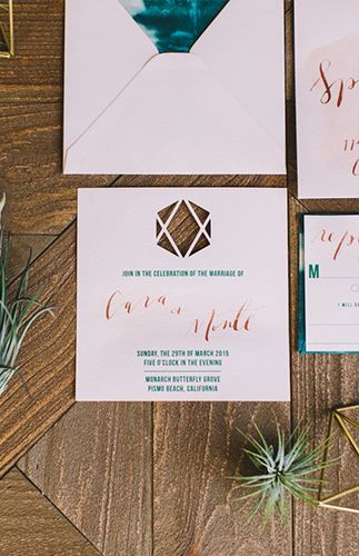 Simple Yet Colorful Wedding Stationary Turquoise And Pink