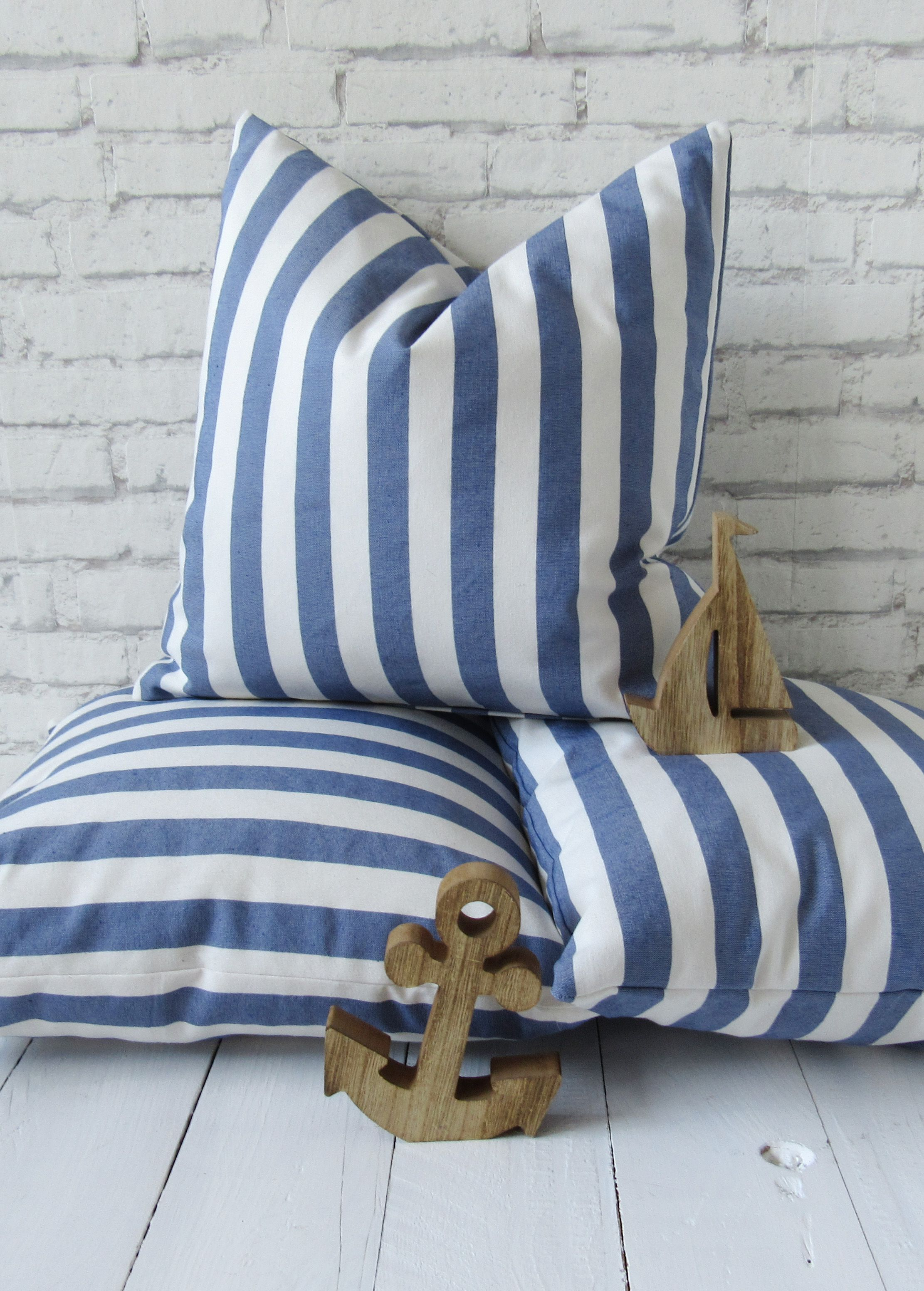 Nautical Pillow Case 40x40 Cm Blue White Stripes Cushion Cover