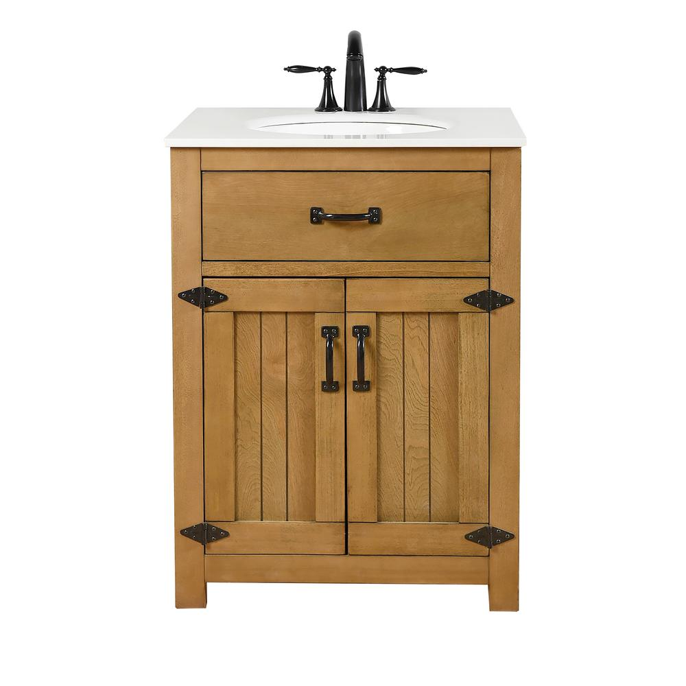 Decor Living Cheyenne 24 In Vanity In A Rustic Wood Finish Features Solid Wood With Engineered Top Ceramic Basin Ev3001 The Home Depot Rustic Bathroom Vanities Wood Vanity Oak Bathroom Vanity [ 1000 x 1000 Pixel ]