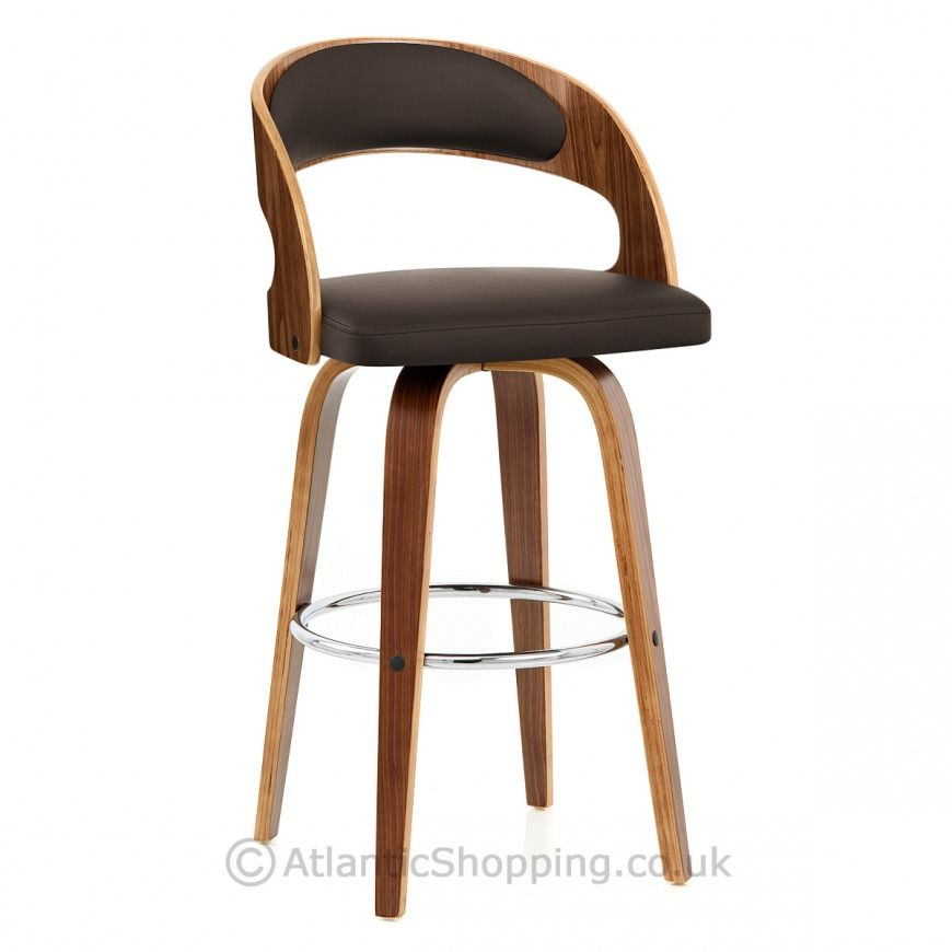 Alicia Walnut Bar Stool Brown Kitchen Extention Leather Swivel