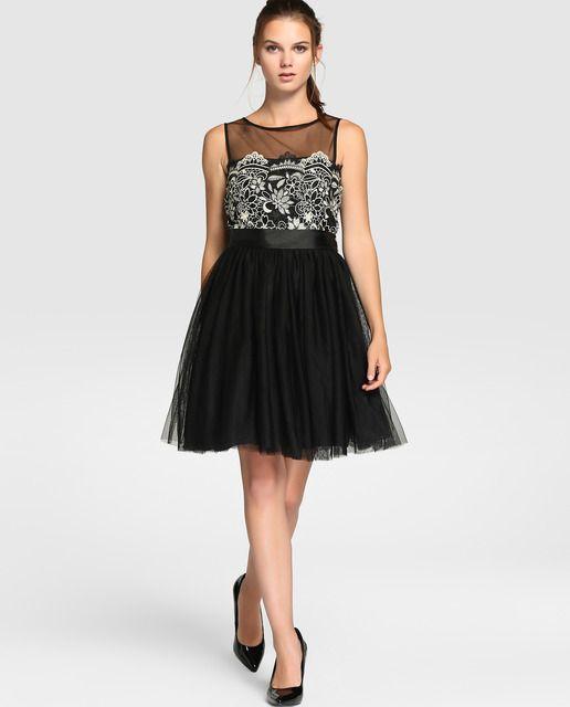 Vestidos cortos tul negro