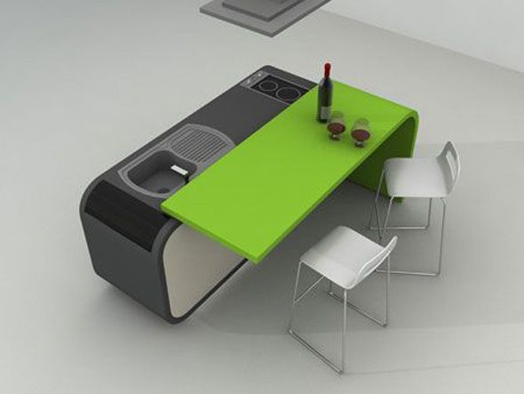 Kitchen Island Close Up kitchen island with movable dining table attached. close up with