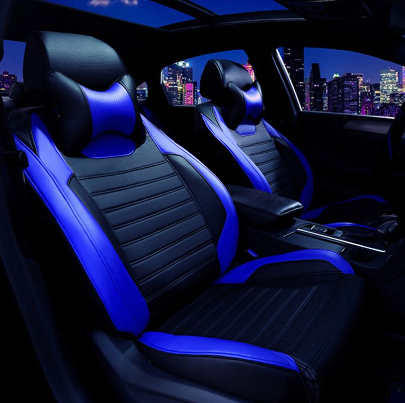 Leatherette Black//Blue CAR SEAT COVERS full set fit VOLKSWAGEN TIGUAN