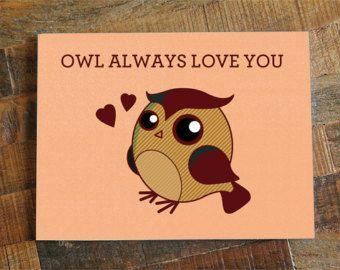 Love greeting card owl always love you cute pun card cute owl love greeting card owl always love you cute pun card cute owl card anniversary card valentines day card boyfriend girlfriend diy pinterest m4hsunfo