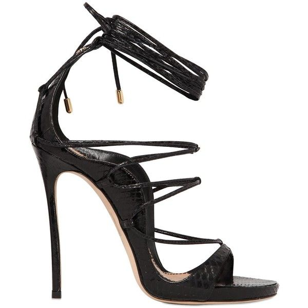 a63d03bd4 Dsquared2 Women 120mm Elaphe Snakeskin Lace-up Sandals (3.880 RON) ❤ liked  on
