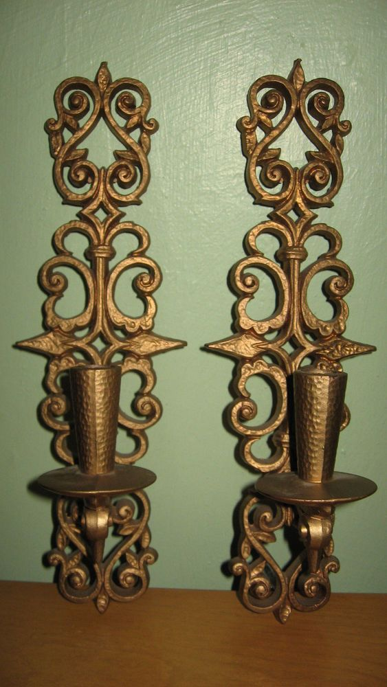 Pair Retro Vintage Burwood Homco Gold Wall Decor Sconces ... on Vintage Wall Sconce Candle Holder Decorating Ideas id=81168