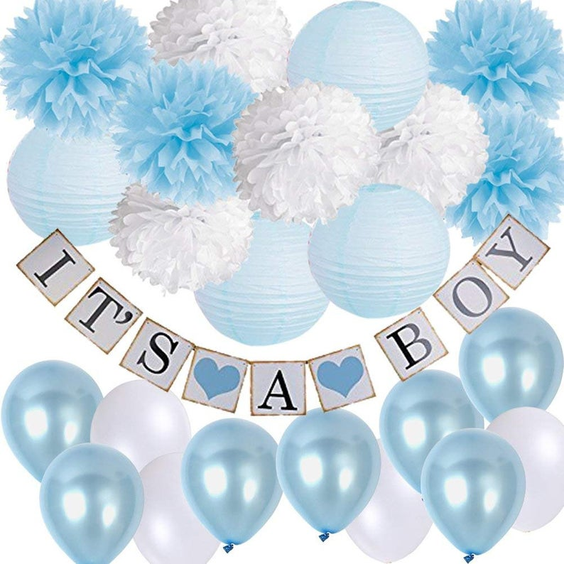 Boy S Baby Shower Decorations Set It S A Boy Banner Etsy Baby Shower Decorations For Boys Diy Baby Shower Decorations Boy Elephant Baby Shower Decorations