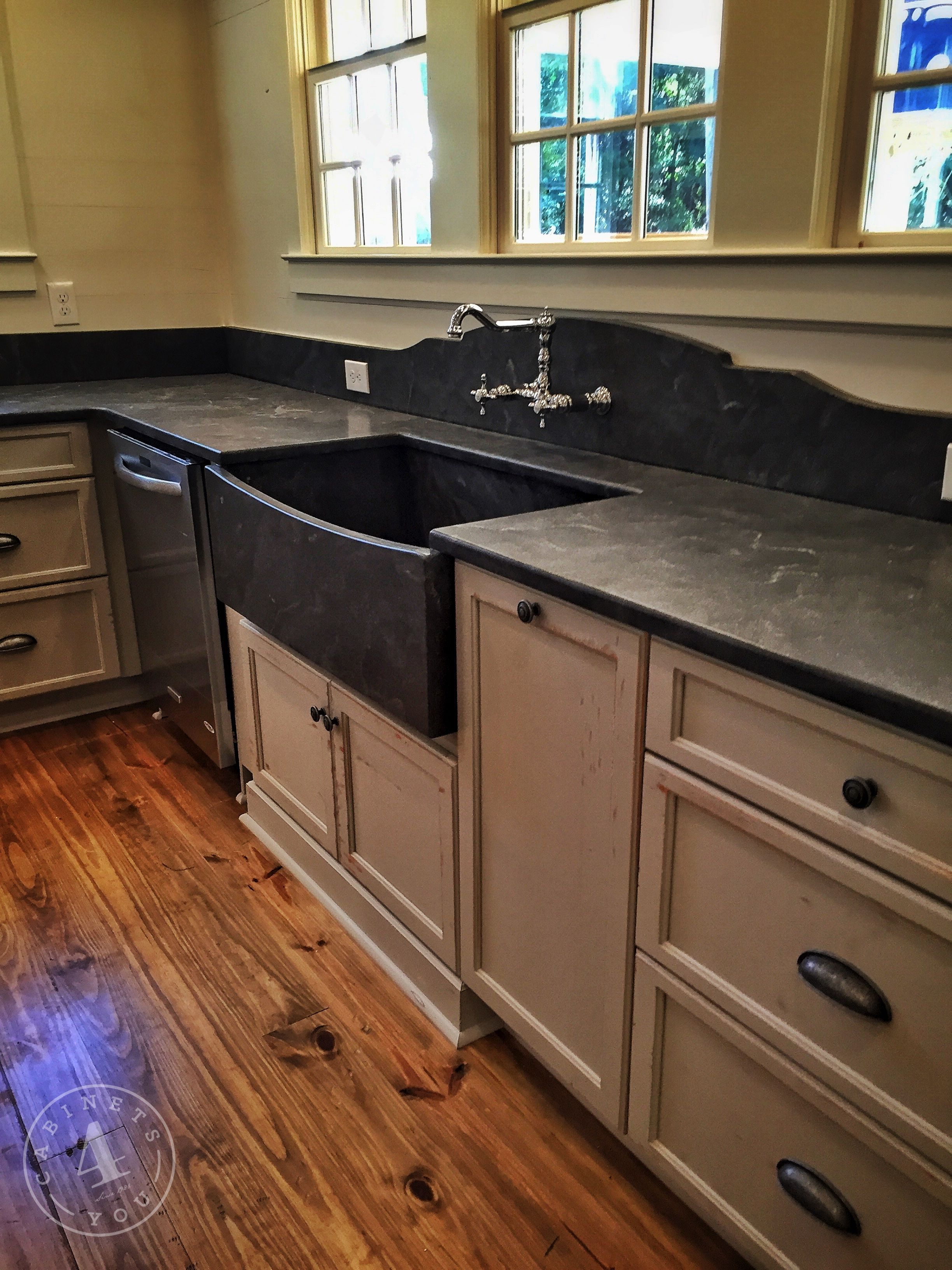 Grey distressed farmhouse kitchen with leather granite and ...