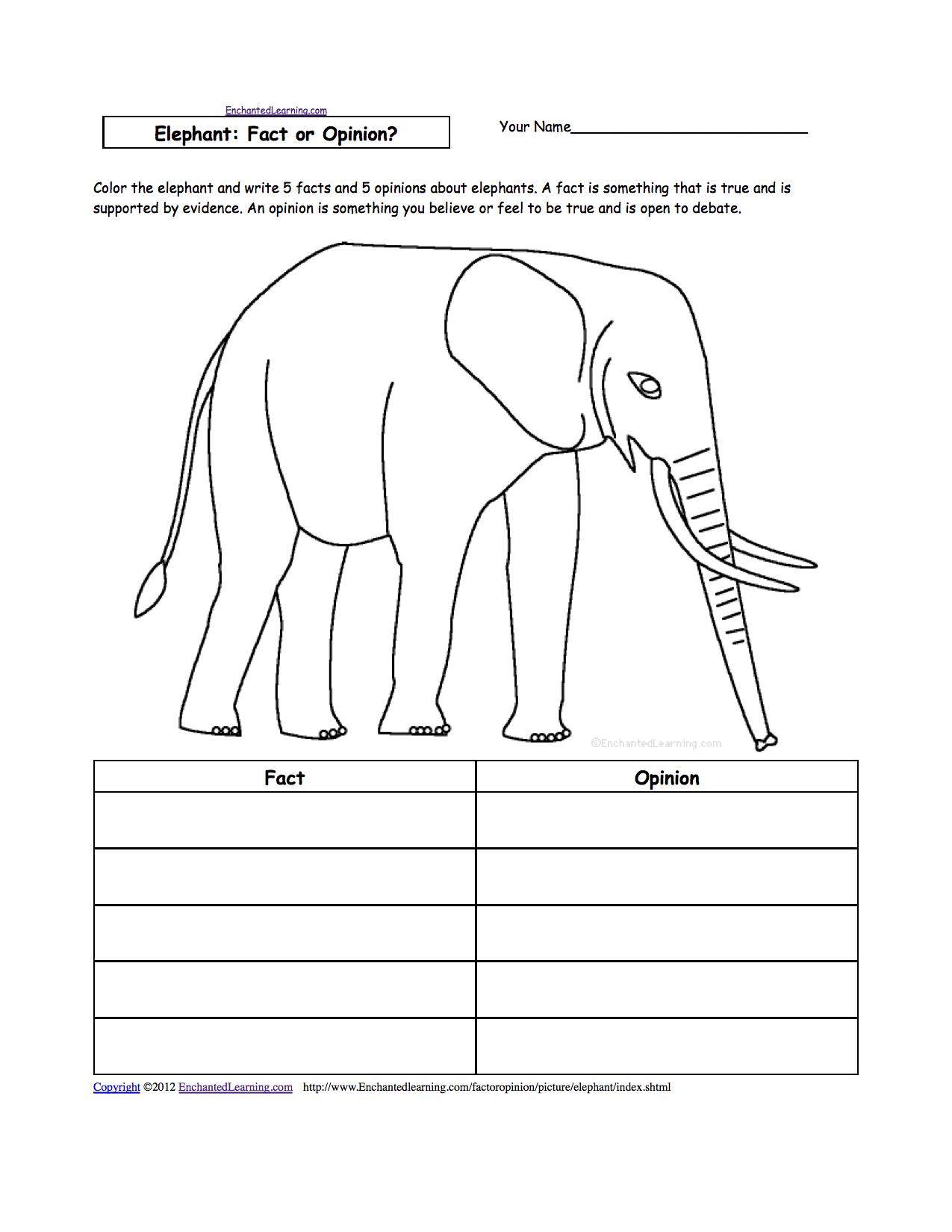 Elephant Free Reading Worksheets Grade One