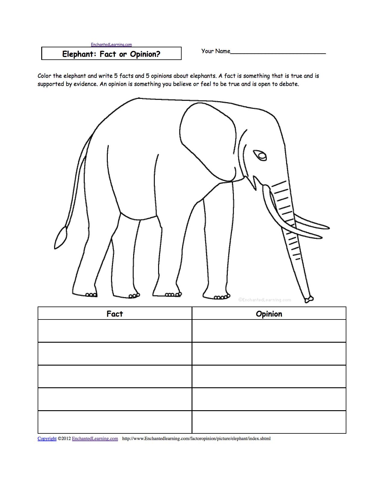 Elephant Free Reading Worksheets Grade One