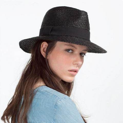 Black straw panama hat for women UV summer wide brim sun hats  87f1be29242