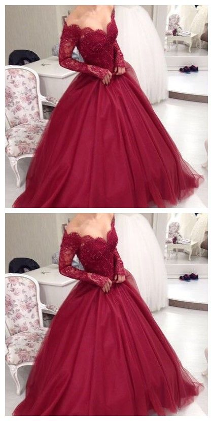 5136f42dc196b Charming Prom Dress,Long Prom Dress,Gowns Long Sleeve Tulle Evening ...