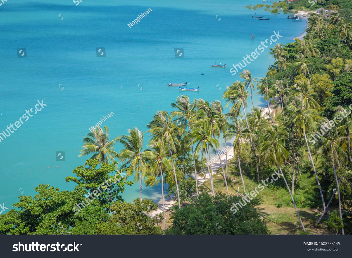 Landscape Nature Beautiful Ocean And Sand Beach With Tree In Surat Thani Thailand Top View Seascape Blue And Gree In 2020 Beautiful Ocean Nature Backgrounds Landscape