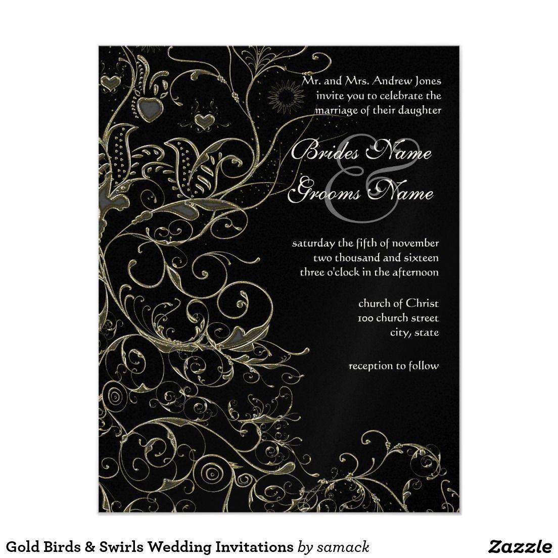 Gold birds swirls wedding invitations weddings gold birds swirls wedding invitations stopboris Images