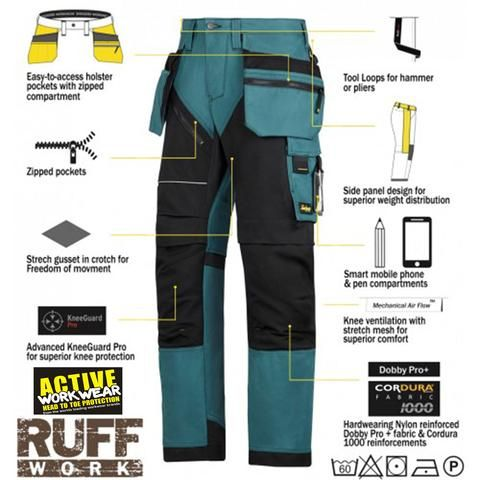 Mens Cordura Work Trousers Kneepad /& Holster Pockets Cargo Combat Working Pants