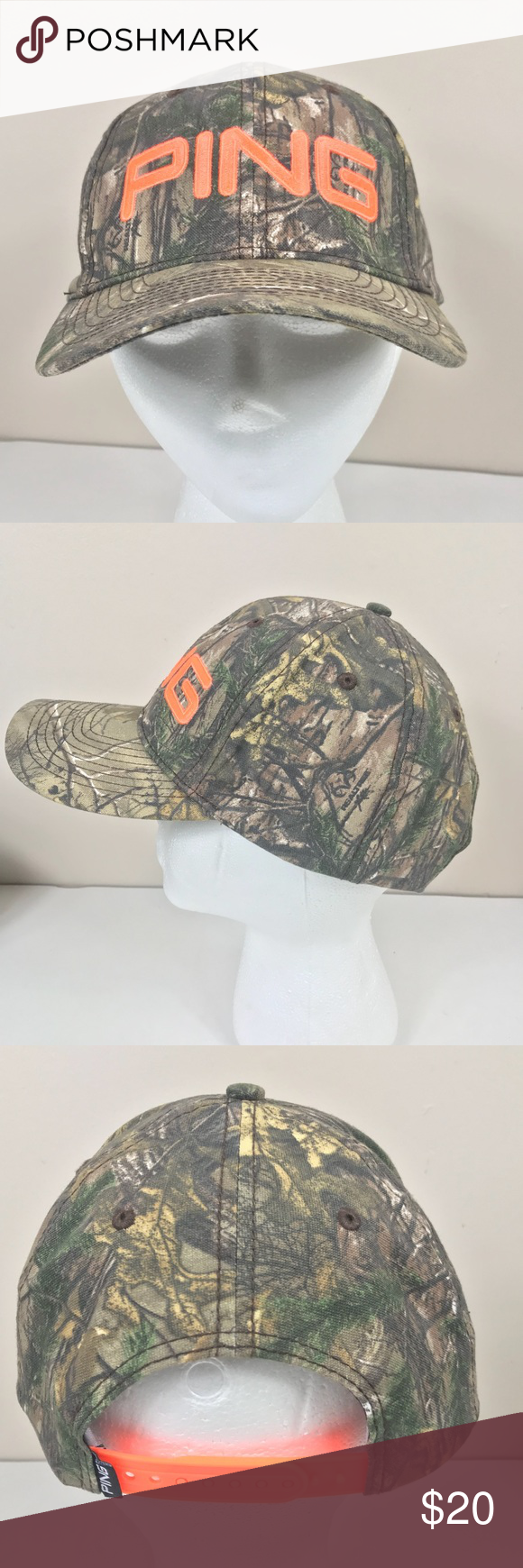 PING Camo Blaze Neon Orange Adjustable Golf Hat Check out my other listings  for great deals 02e02a3d13ab