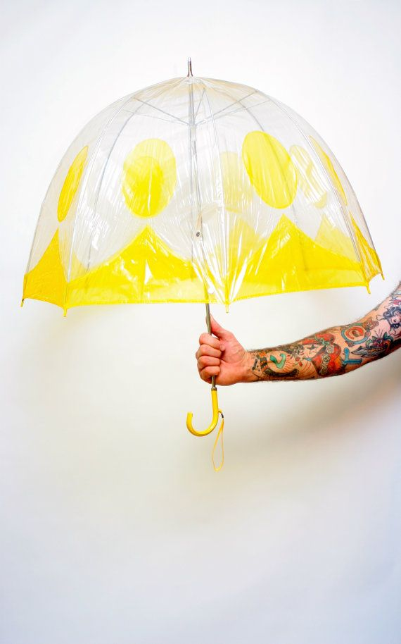 Clear umbrella with yellow trim and polka dots #clearumbrella