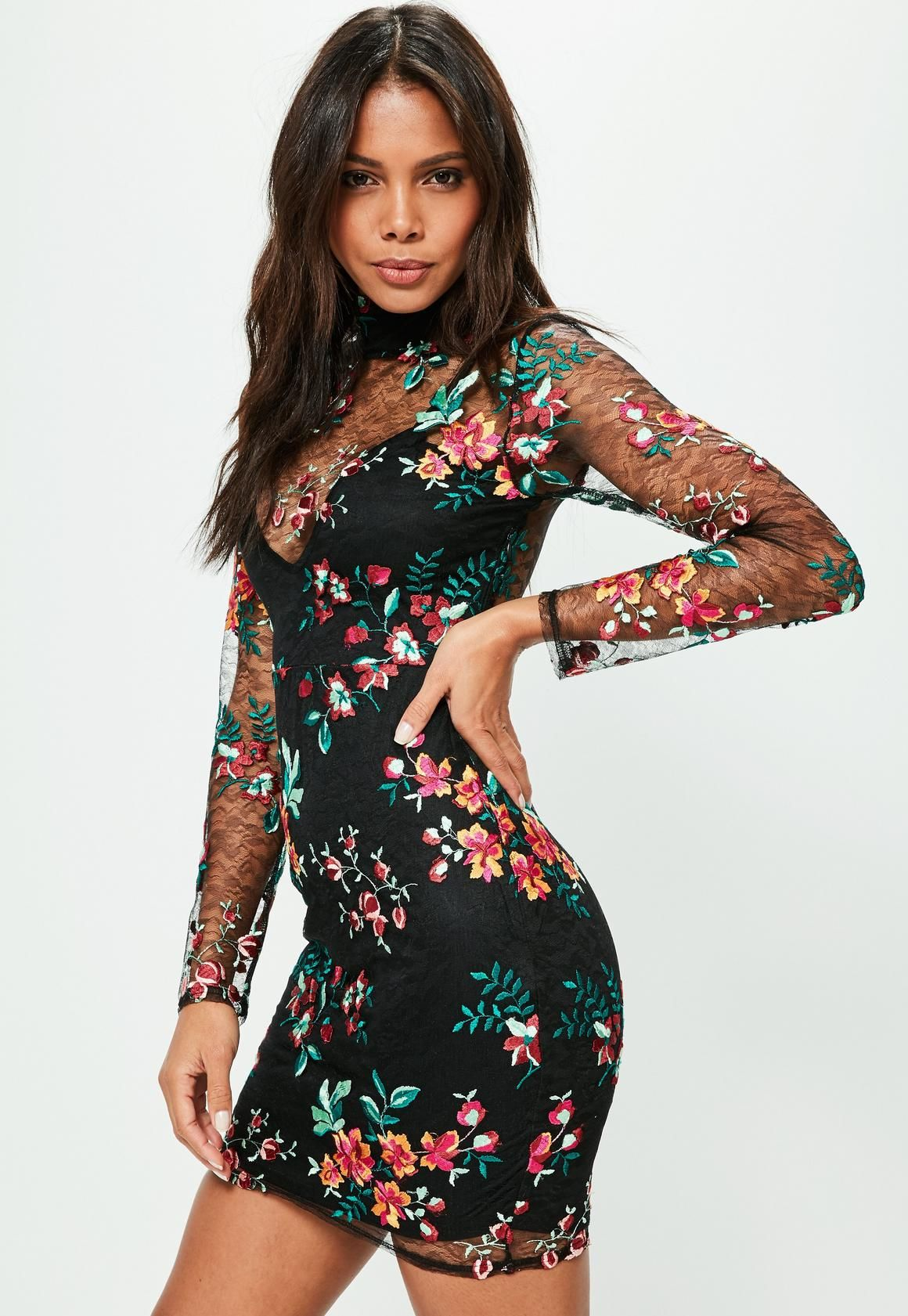 Missguided Black Embroidered Lace Bodycon Dress (With