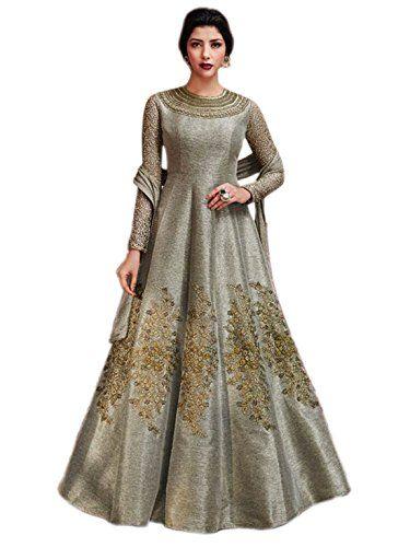 0d0ecdd804 Shoppingover Indo-Western Anarkali Salwar Kameez Party wear in Jute Silk  Fabric-Greay Color