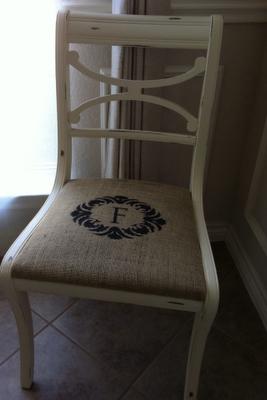 Burlap Seat Cover With Stencil Monogram