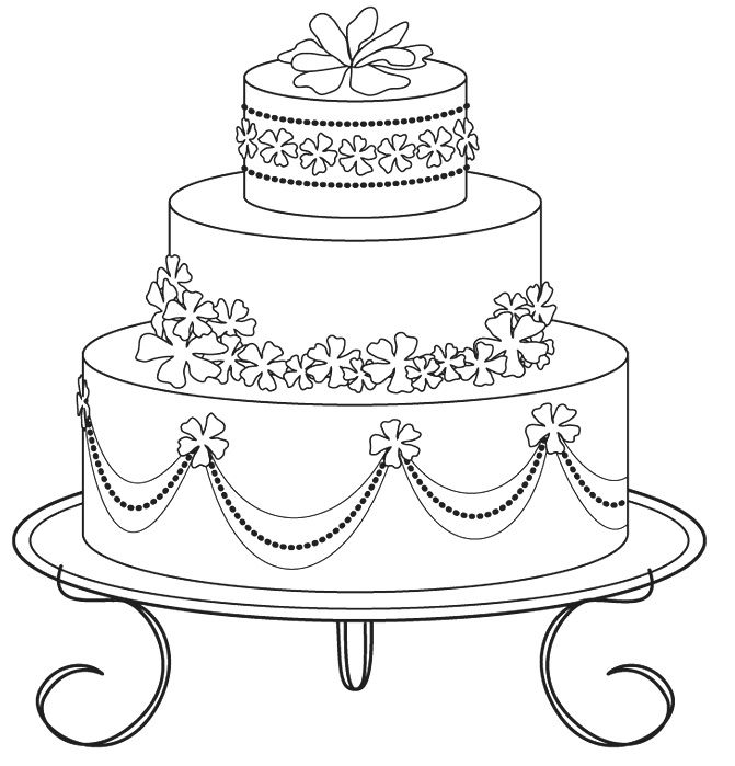wedding cake pictures to colour in wedding cake coloring pages 03 baby 23444