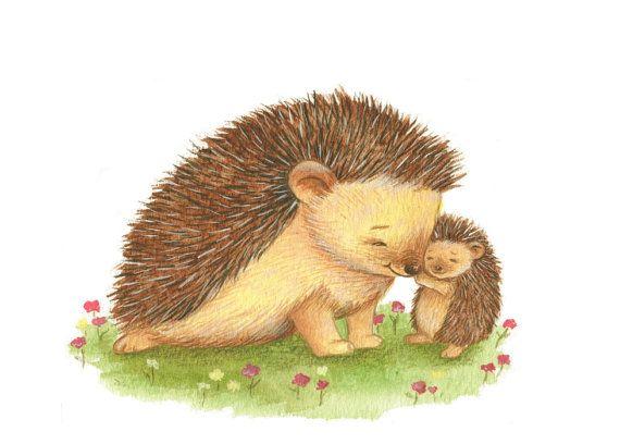 Nursery Art Hedgehog Art Hoggy and Mummy Cuddling by TinyRed