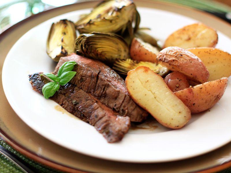 Grilled balsamic basil flank steak