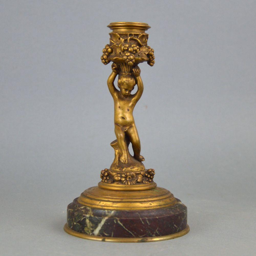 bougeoir bronze dor socle en marbre putti de style baroque f barbedienne 19 me bougeoirs. Black Bedroom Furniture Sets. Home Design Ideas